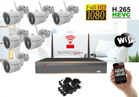 Monitorrs Security - Wifi IP Full HD kamerarendszer 6 kamerával - 6513K6